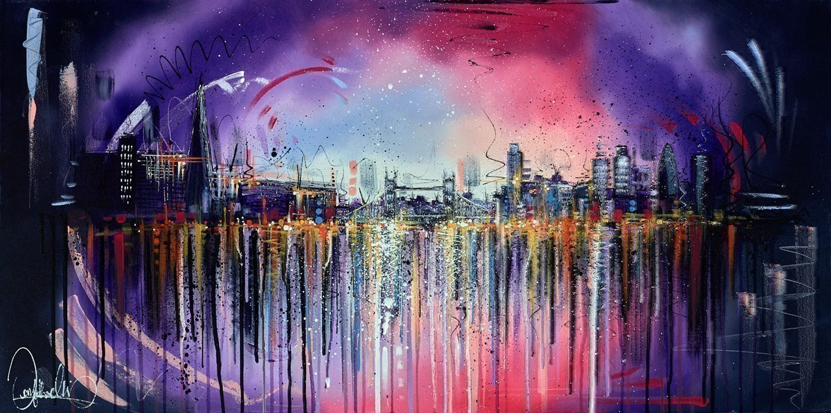 Lilac London Skies by Samantha Ellis -  sized 48x24 inches. Available from Whitewall Galleries